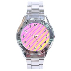 Pink and yellow elegant design Stainless Steel Analogue Watch