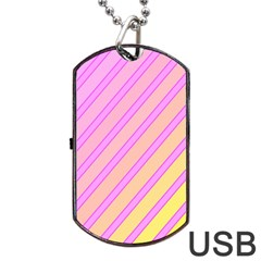 Pink and yellow elegant design Dog Tag USB Flash (Two Sides)
