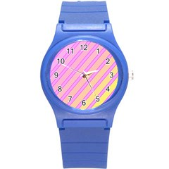 Pink and yellow elegant design Round Plastic Sport Watch (S)