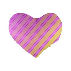Pink and yellow elegant design Standard 16  Premium Heart Shape Cushions