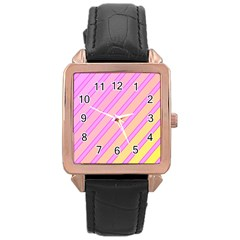 Pink and yellow elegant design Rose Gold Leather Watch
