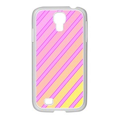 Pink and yellow elegant design Samsung GALAXY S4 I9500/ I9505 Case (White)