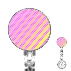 Pink and yellow elegant design Stainless Steel Nurses Watch