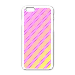 Pink and yellow elegant design Apple iPhone 6/6S White Enamel Case