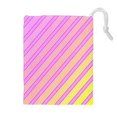 Pink and yellow elegant design Drawstring Pouches (Extra Large)
