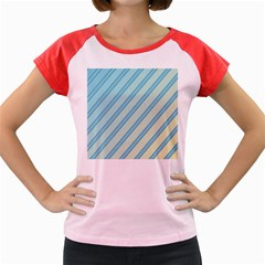 Blue elegant lines Women s Cap Sleeve T-Shirt