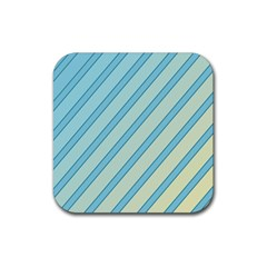 Blue elegant lines Rubber Square Coaster (4 pack)