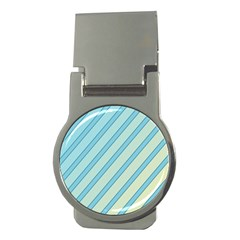 Blue elegant lines Money Clips (Round)