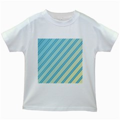 Blue elegant lines Kids White T-Shirts