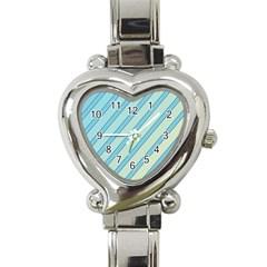 Blue elegant lines Heart Italian Charm Watch