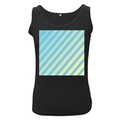 Blue elegant lines Women s Black Tank Top
