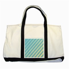 Blue elegant lines Two Tone Tote Bag