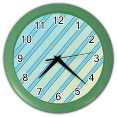 Blue elegant lines Color Wall Clocks