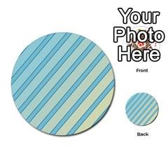Blue elegant lines Multi-purpose Cards (Round)