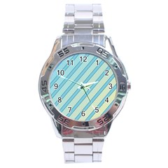 Blue elegant lines Stainless Steel Analogue Watch