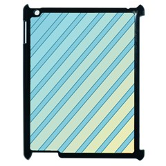 Blue elegant lines Apple iPad 2 Case (Black)