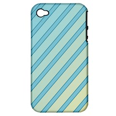 Blue elegant lines Apple iPhone 4/4S Hardshell Case (PC+Silicone)