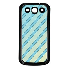 Blue elegant lines Samsung Galaxy S3 Back Case (Black)