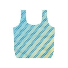 Blue elegant lines Full Print Recycle Bags (S)