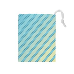 Blue elegant lines Drawstring Pouches (Medium)