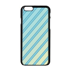 Blue elegant lines Apple iPhone 6/6S Black Enamel Case