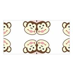 Cvan0086 Cute Smiling Whimsical Twin Monkeys Satin Shawl