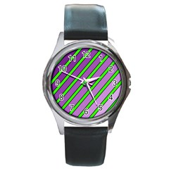 Purple and green lines Round Metal Watch