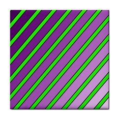 Purple and green lines Tile Coasters