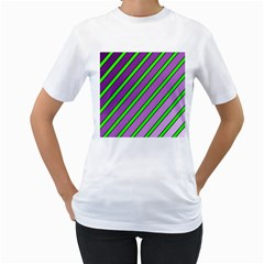 Purple and green lines Women s T-Shirt (White) (Two Sided)
