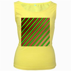 Purple and green lines Women s Yellow Tank Top