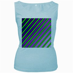 Purple and green lines Women s Baby Blue Tank Top