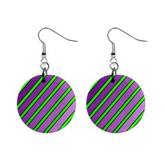 Purple and green lines Mini Button Earrings