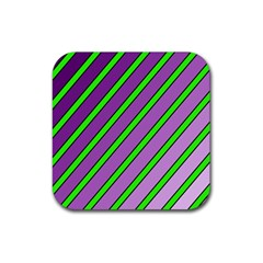 Purple and green lines Rubber Square Coaster (4 pack)