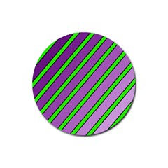 Purple and green lines Rubber Coaster (Round)
