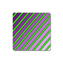 Purple and green lines Square Magnet