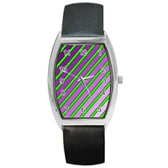 Purple and green lines Barrel Style Metal Watch