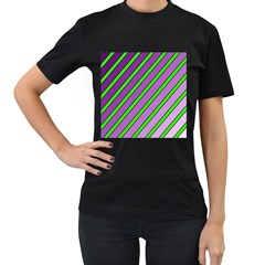 Purple and green lines Women s T-Shirt (Black) (Two Sided)