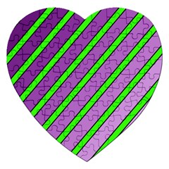 Purple and green lines Jigsaw Puzzle (Heart)