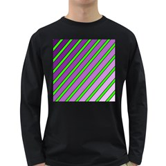 Purple and green lines Long Sleeve Dark T-Shirts