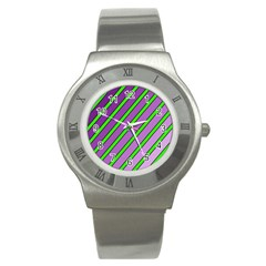 Purple and green lines Stainless Steel Watch