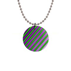 Purple and green lines Button Necklaces