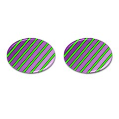 Purple and green lines Cufflinks (Oval)