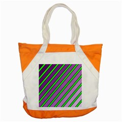 Purple and green lines Accent Tote Bag