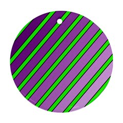 Purple and green lines Round Ornament (Two Sides)