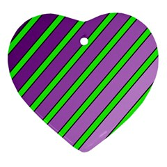 Purple And Green Lines Heart Ornament (2 Sides)