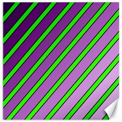 Purple and green lines Canvas 20  x 20