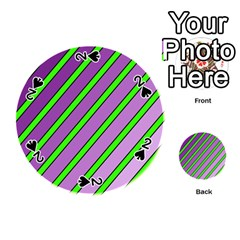 Purple and green lines Playing Cards 54 (Round)