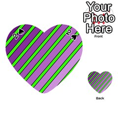 Purple and green lines Playing Cards 54 (Heart)
