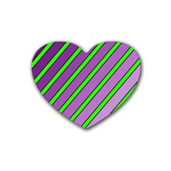 Purple and green lines Rubber Coaster (Heart)