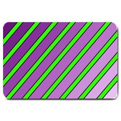 Purple and green lines Large Doormat